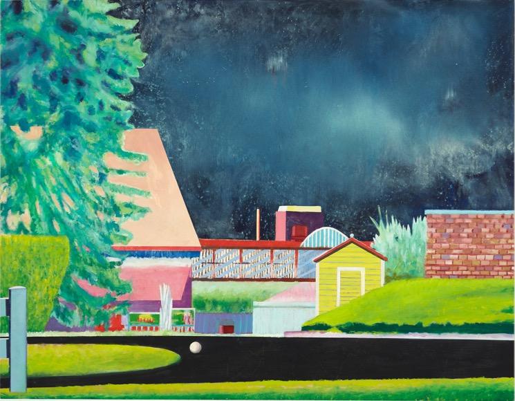 LEIF TRENKLER 'Long Island Nachts' 2018, Oil on wood, 73 x 92 cm