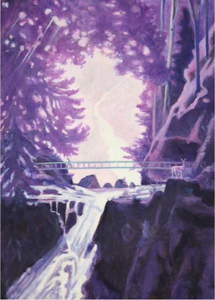 LEIF TRENKLER 'Zwei Wasserfälle' 2020, Oil on wood, 80 x 60 cm