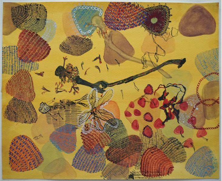 POORVI SULTANIA 'Two Stems' 2020, Gouache on Paper, 30 x 38 cm
