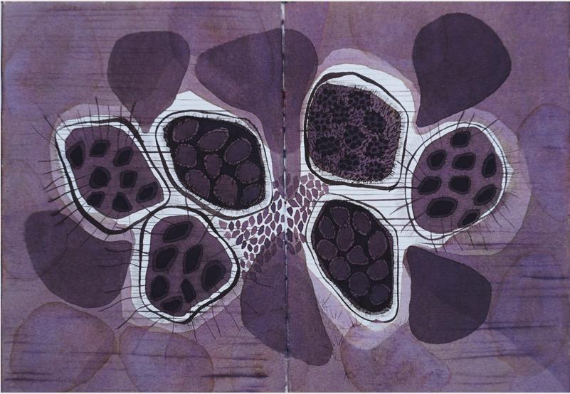 POORVI SULTANIA 'Purple' 2018, Ink on Paper, 21 x 26 cm