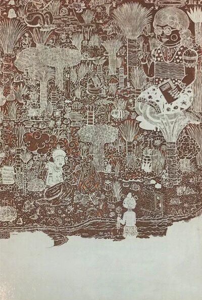 PATRICK GRAF 'Die Insel der Zeiten: 4000 v. Chr. – *' 2016, Graved pear wood on MDF, 49.5 x 35 cm