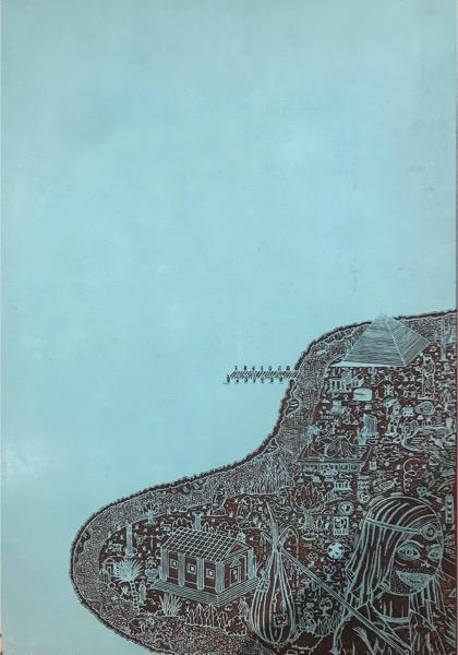 PATRICK GRAF 'Die Insel der Zeiten: Antike' 2016, Graved pear wood on MDF, 49.5 X 35 cm