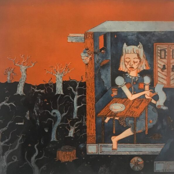 PATRICK GRAF 'Untitled' (Mädchen am Tisch), 2020, Heliogravure in color, 40 x 40 cm, Ed. 3 (+2AP) CHF 1'500 (+VAT)