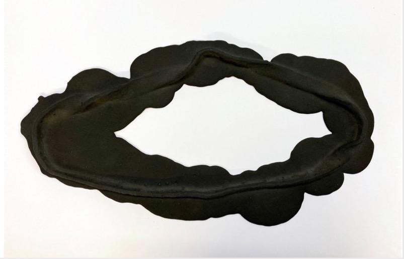ANDREA HELLER 'Frame IV', 2020, Felt, Jesmonite, indian ink, 29x55x3.5cm