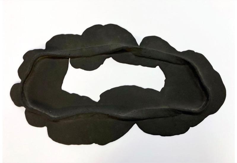 ANDREA HELLER 'Frame II', 2020, Felt, Jesmonite, indian ink, 32.5x58.5x3cm