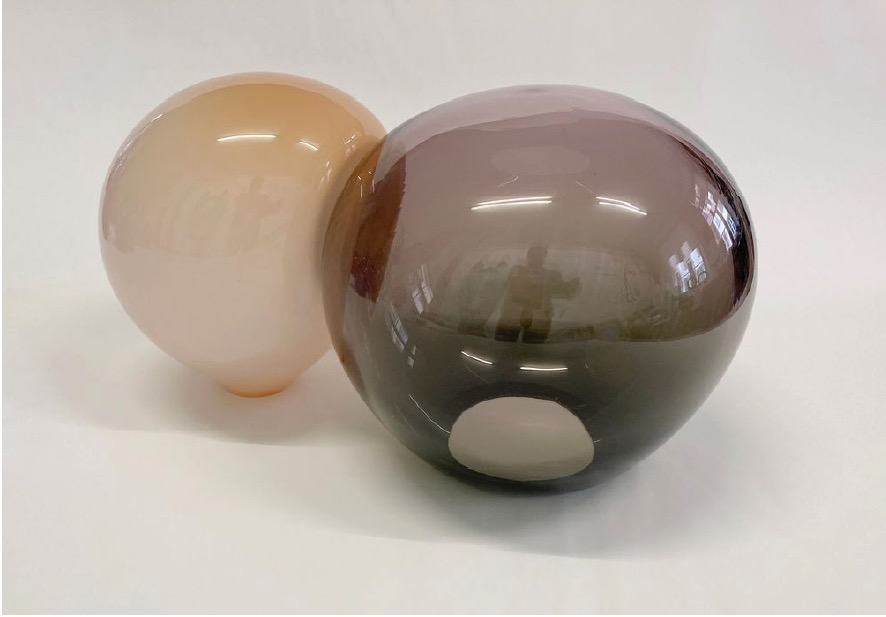 ANDREA HELLER 'untitled (from series 'order-disorder transition')' 2021, Handmade glass (Apricot-Tourmalin), 21 X 38 X 24 cm