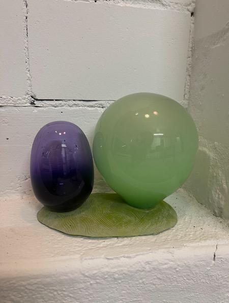 ANDREA HELLER 'Shell-Structure III' 2021, Handmade glass, ceramic, 17 X 23 X 15 cm