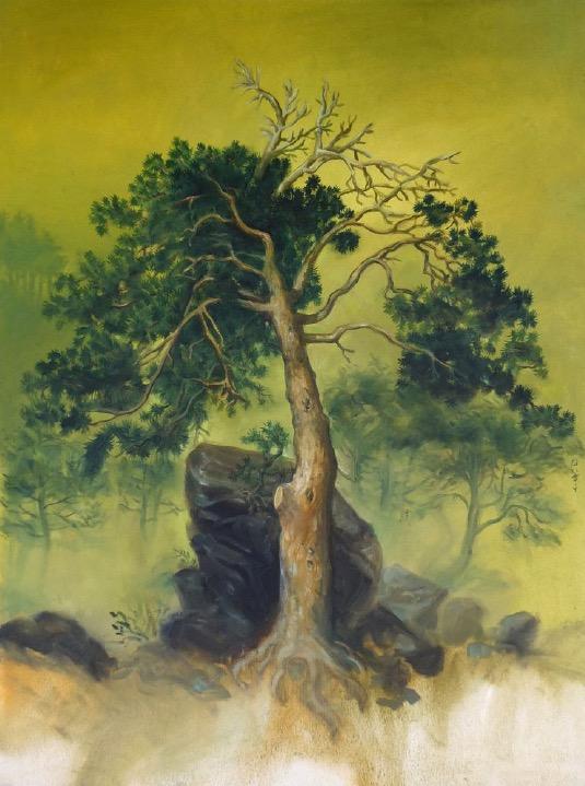 STÉPHANE ZAECH 'Arbre devant un rocher',  2014, Oil on canvas, 80 x 60 cm