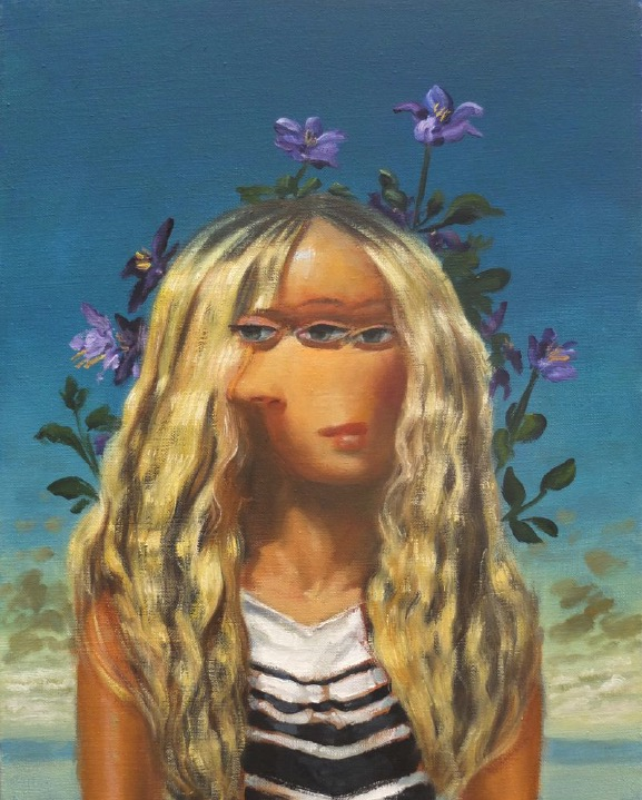 STÉPHANE ZAECH 'Femme aux clématites',  2020, Oil on canvas, 50 x 40 cm