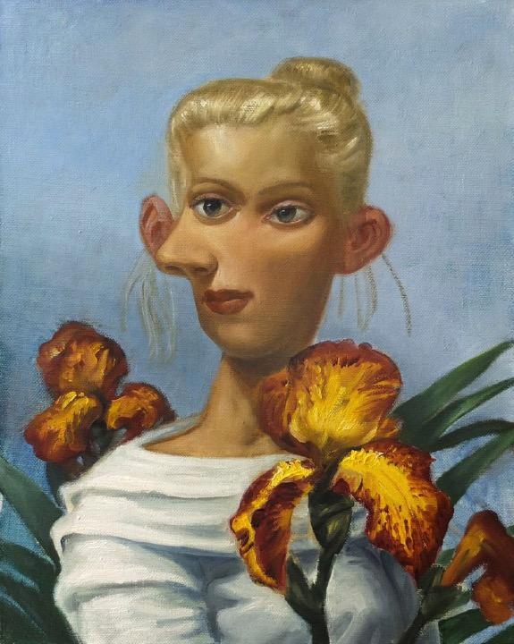 STÉPHANE ZAECH 'Femme aux iris',  2020, Oil on canvas, 50 x 40 cm