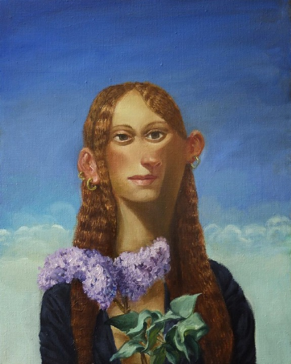 STÉPHANE ZAECH 'Femme au lilas',  2020, Oil on canvas, 50 x 40 cm