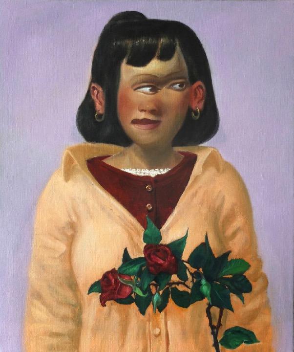 STÉPHANE ZAECH 'La rose grimpante',  2020, Oil on canvas, 55 x 46 cm