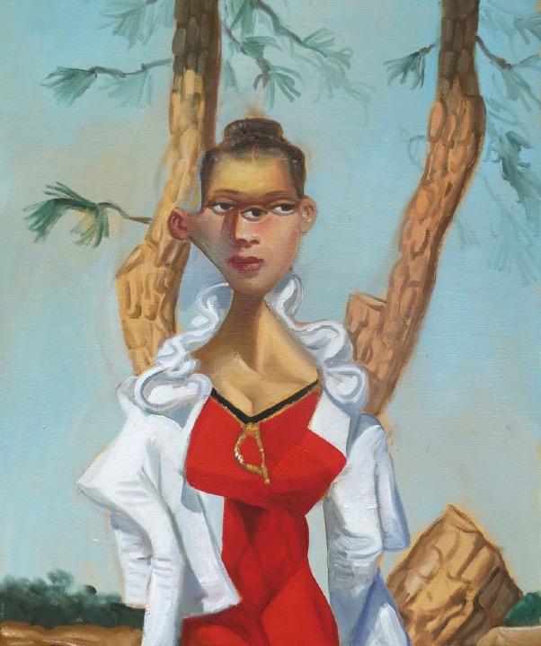 STÉPHANE ZAECH 'Femme sous un pin',  2021, Oil on canvas, 55 x 46 cm