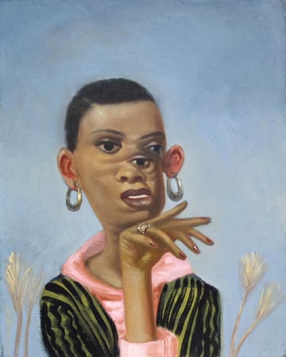 STÉPHANE ZAECH 'Femme à la veste rayée', 2018, Oil on canvas, 50 x 40 cm