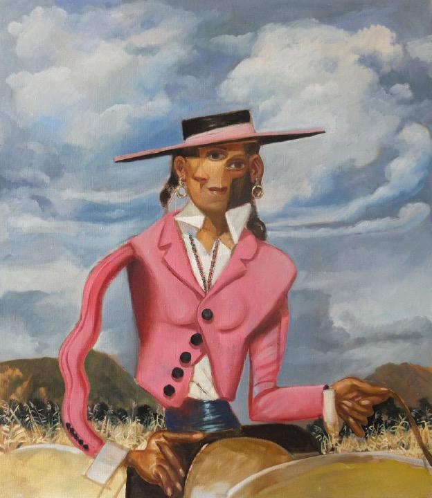 STÉPHANE ZAECH 'Cavalière en rose 2', 2020, Oil on canvas, 80 x 70 cm