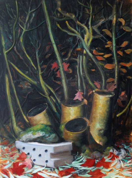 STÉPHANE ZAECH 'Les troncs coupés', 2020, Oil on canvas, 80 x 60 cm