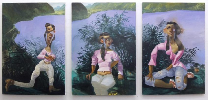 STÉPHANE ZAECH 'Le Haut-Lac', 2019, Triptychon, Oil on canvas, each 130 x 90 cm