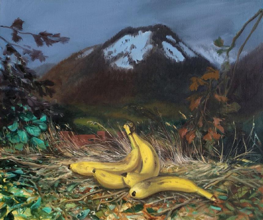 STÉPHANE ZAECH 'Paysage aux bananes', 2021, Oil on canvas, 46 x 55 cm