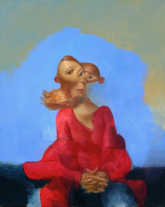 STÉPHANE ZAECH 'Femme assise en rouge', 2019, Oil on canvas, 100 x 80 cm