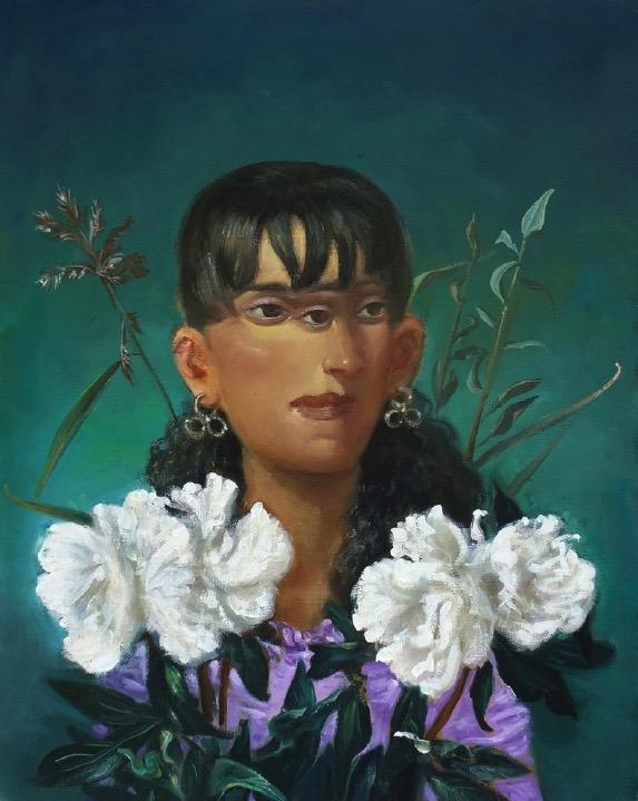 STÉPHANE ZAECH 'Femme aux pivoines', 2019, Oil on canvas, 50 x 40 cm