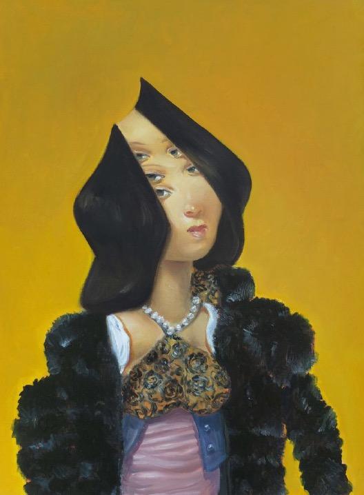 STÉPHANE ZAECH 'Femme sur fond jaune', 2019, Oil on canvas, 59 x 43 cm